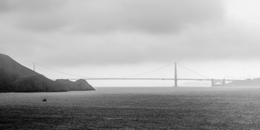 The Golden Gate bridge from the Marin headlands--small fishing vessel for scale