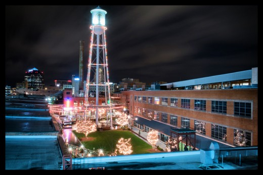 The American Tobacco Campus, adorned with Christmas lights