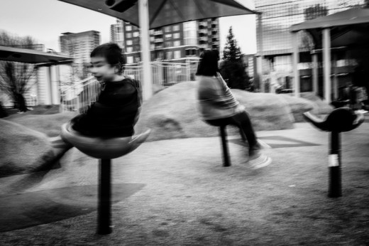 Hanna and Isaac making themselves dizzy on purpose, Olympic Centennial Park
