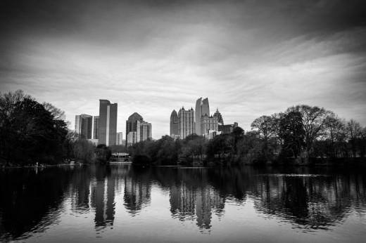 Midtown Atlanta from the side of Lake Clara Meer, Piedmont Park