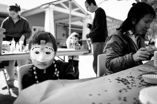 Isaac ready for Mardi Gras, Piedmont Park farmer's market